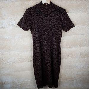 Nina Leonard Leopard Print Sweater Dress Sz S,